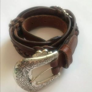 Fossil SM leather w/ silver hardware braided belt